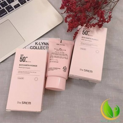 Kem Chống Nắng The Saem Eco Earth Power Pink Sun Cream SPF50+ PA++++